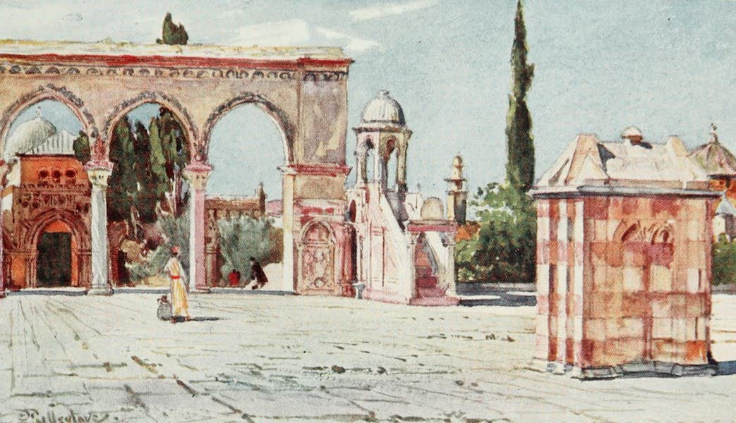 The Holy Land, Painted and Described - The Summer Pulpit, from the South Porch of the Mosque of Omar (Dome of the Rock) (1902)