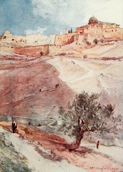 The Holy Land, Painted and Described - South Wall of Jerusalem, from the North End of the Village of Siloam (1902)