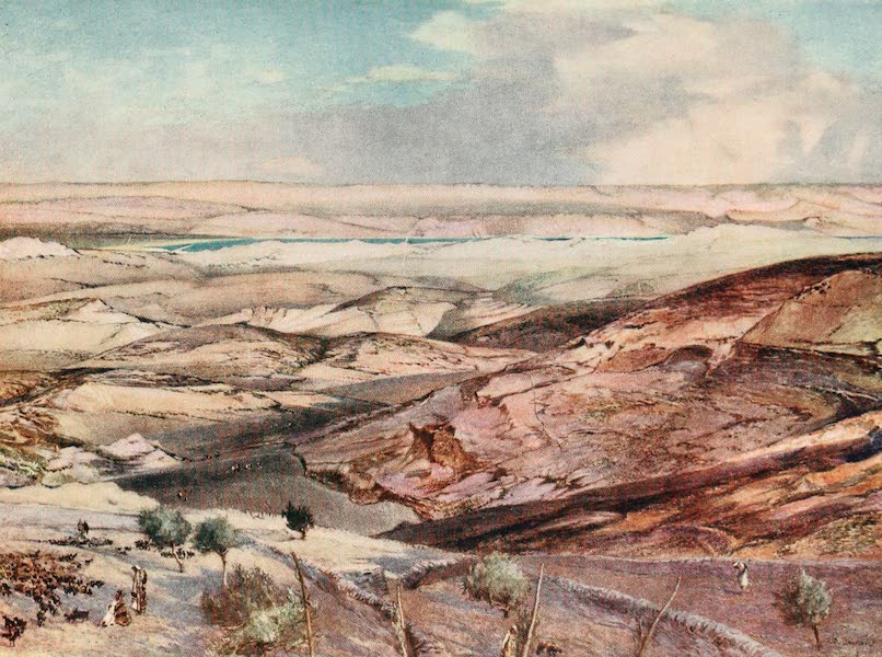 The Holy Land, Painted and Described - The Judean Desert and the Dead Sea, from the highest point of the Mount of Olives (1902)