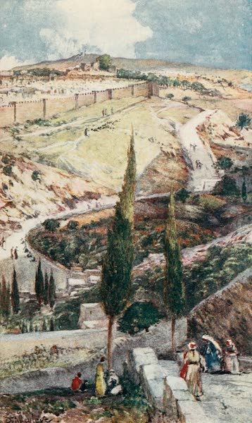 The Holy Land, Painted and Described - The N.E. end of Jerusalem and Mizpah, from the Mount of Olives (1902)