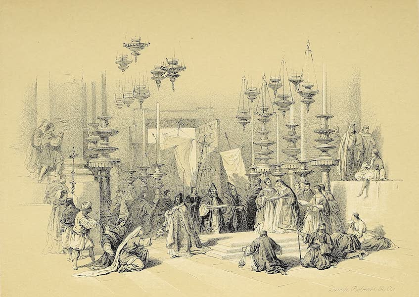 The Holy Land : Syria, Idumea, Arabia, Egypt & Nubia Vols. 1 & 2 - Stone of Unction - Church of the Holy Sepulchre (1855)