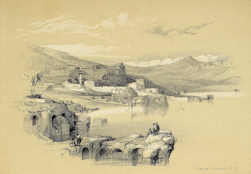 The Holy Land : Syria, Idumea, Arabia, Egypt & Nubia Vols. 1 & 2 - Tiberias, from the Walls; Safed in the Distance (1855)