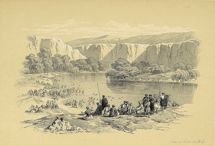 The Holy Land : Syria, Idumea, Arabia, Egypt & Nubia Vols. 1 & 2 - The Immersion of the Pilgrims in the Jordan (1855)