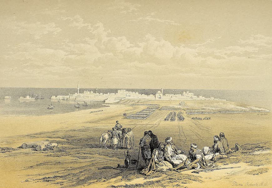 The Holy Land : Syria, Idumea, Arabia, Egypt & Nubia Vols. 1 & 2 - St. Jean d'Acre, from the Land (1855)