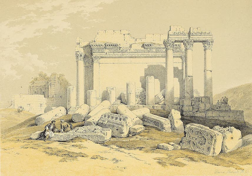 The Holy Land : Syria, Idumea, Arabia, Egypt & Nubia Vols. 1 & 2 - Portion of the Eastern Portico, Baalbec (1855)