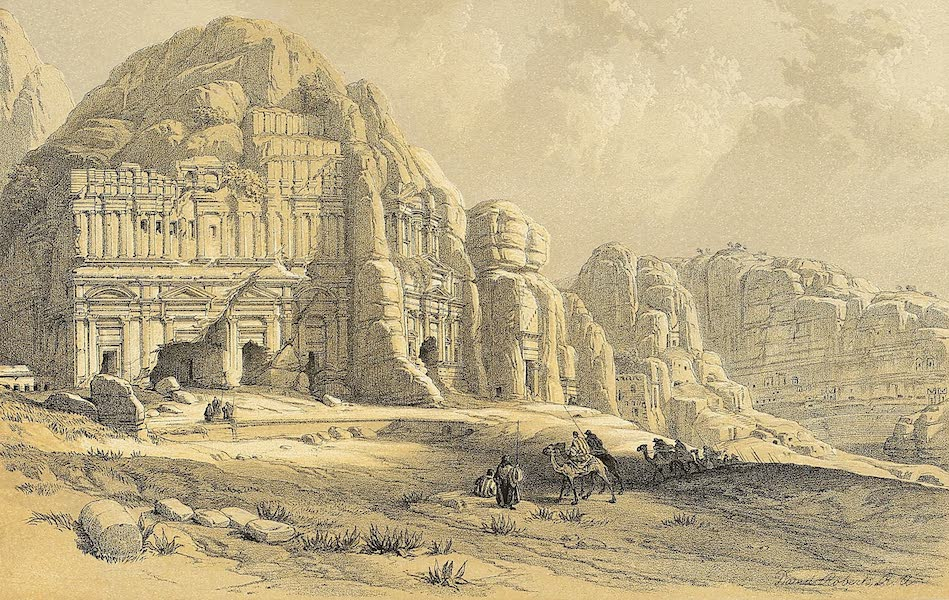 The Holy Land : Syria, Idumea, Arabia, Egypt & Nubia Vols. 3 & 4 - Petra, Showing the Upper or Eastern End of the Valley (1855)