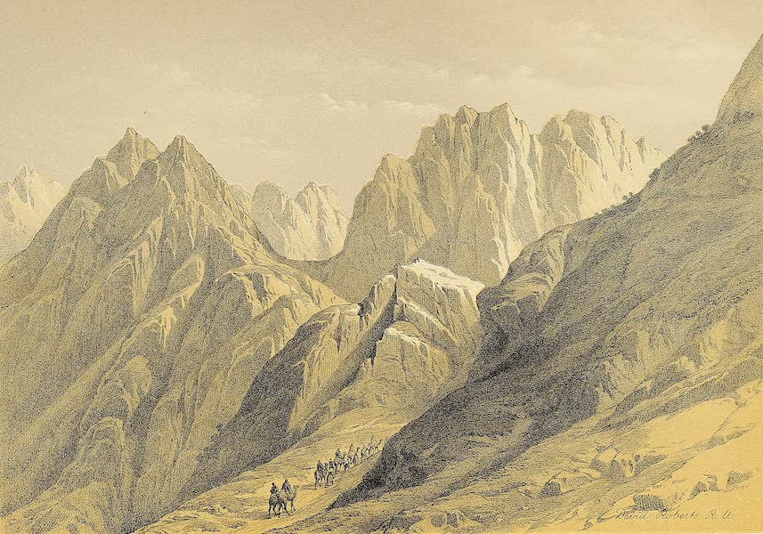 The Holy Land : Syria, Idumea, Arabia, Egypt & Nubia Vols. 3 & 4 - Ascent of the Lower Range of Mount Sinai (1855)
