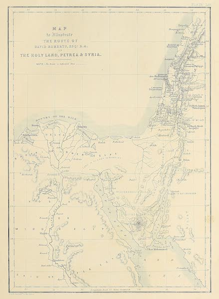 The Holy Land : Syria, Idumea, Arabia, Egypt & Nubia Vols. 3 & 4 - Map to Illustrate Mr. Robert's Route (1855)