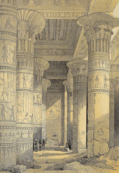 The Holy Land : Syria, Idumea, Arabia, Egypt & Nubia Vols. 3 & 4 - View Under the Grand Portico of the Temple, Philae, in Nubia (1855)