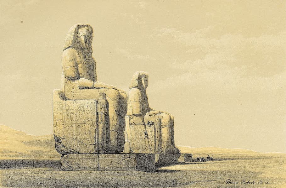 The Holy Land : Syria, Idumea, Arabia, Egypt & Nubia Vols. 3 & 4 - Statues of Memnon in the Plain of Goorna, at Thebes (1855)