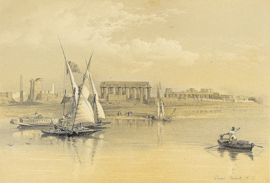 The Holy Land : Syria, Idumea, Arabia, Egypt & Nubia Vols. 3 & 4 - Ruins of Luxor, from the South-West (1855)