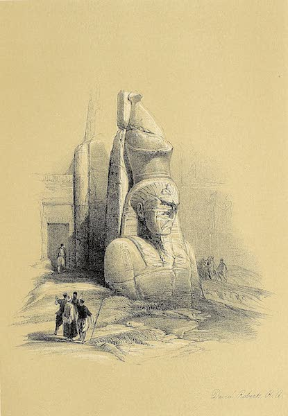 The Holy Land : Syria, Idumea, Arabia, Egypt & Nubia Vols. 3 & 4 - A Colossal Statue at the Entrance to the Temple of Luxor (1855)
