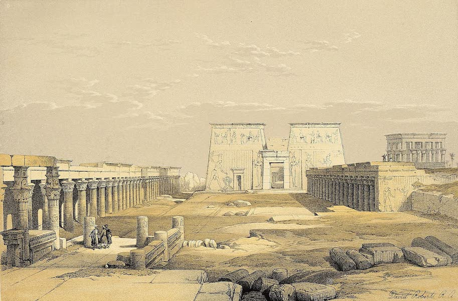 The Holy Land : Syria, Idumea, Arabia, Egypt & Nubia Vols. 3 & 4 - Grand Approach to the Temple of Phila, Nubia (1855)