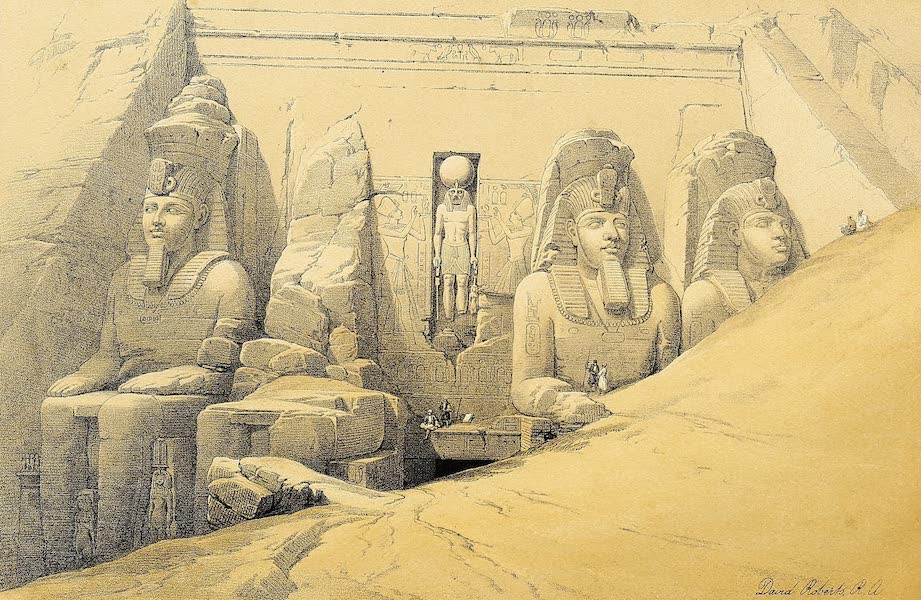 The Holy Land : Syria, Idumea, Arabia, Egypt & Nubia Vols. 5 & 6 - Front Elevation of the Great Temple of Aboo-Simbel  (1855)