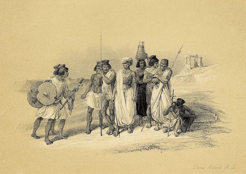 The Holy Land : Syria, Idumea, Arabia, Egypt & Nubia Vols. 5 & 6 - Group of Nubians at Wady Kardassy (1855)