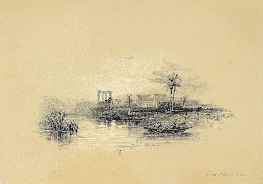 The Holy Land : Syria, Idumea, Arabia, Egypt & Nubia Vols. 5 & 6 - The Island of Philae by Sunset (1855)