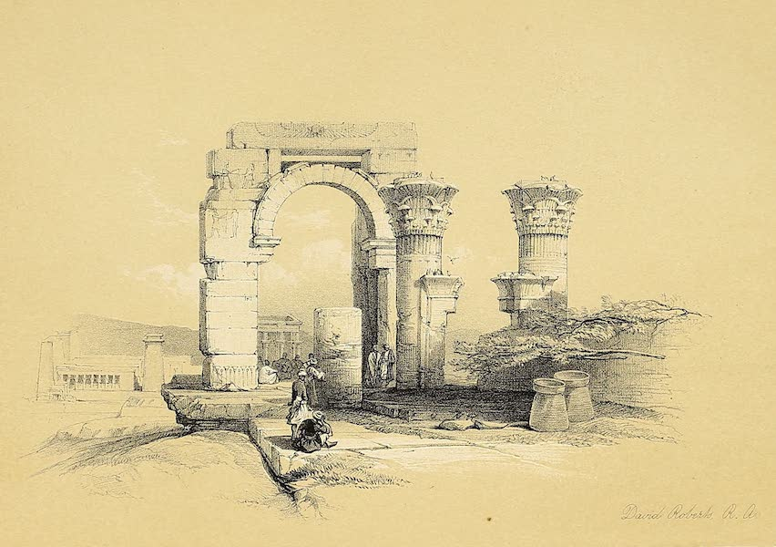 The Holy Land : Syria, Idumea, Arabia, Egypt & Nubia Vols. 5 & 6 - Part of the Ruins of a Temple on the Island of Bigge, Nubia (1855)