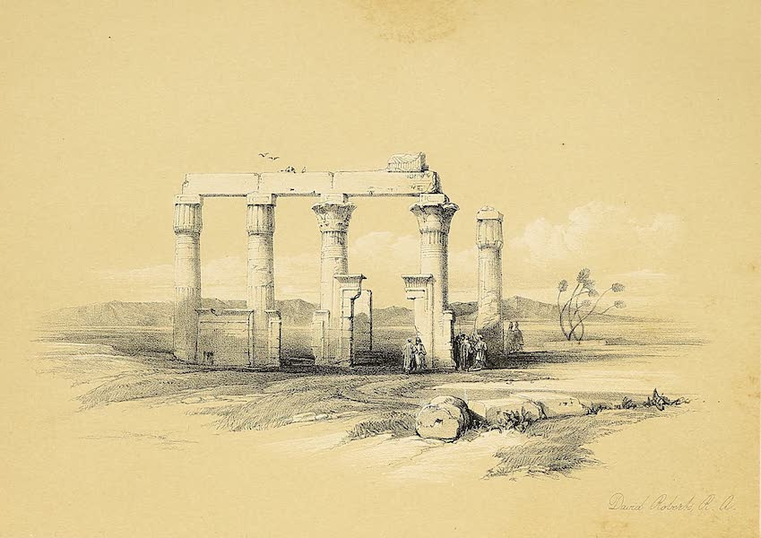 The Holy Land : Syria, Idumea, Arabia, Egypt & Nubia Vols. 5 & 6 - Ruins of the Temple of Madamoud, near Thebes (1855)