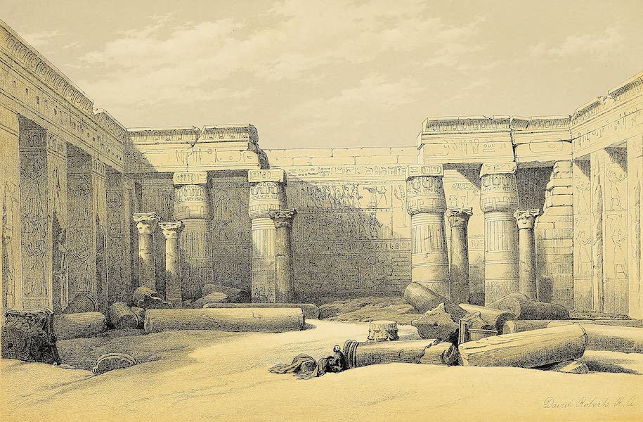 The Holy Land : Syria, Idumea, Arabia, Egypt & Nubia Vols. 5 & 6 - Ruins of a Christian Church in the Grand Court of the Temple of Medinet Abou (1855)