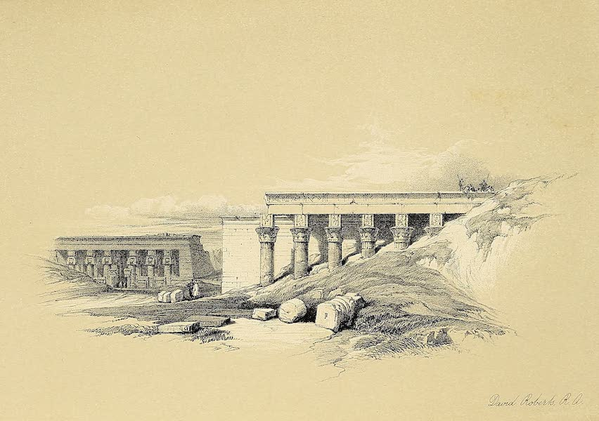 The Holy Land : Syria, Idumea, Arabia, Egypt & Nubia Vols. 5 & 6 - Lateral View of the Temple called the Typonaeum, at Dendera (1855)