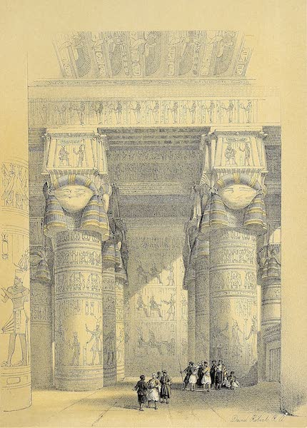 The Holy Land : Syria, Idumea, Arabia, Egypt & Nubia Vols. 5 & 6 - View from Under the Portico of the Great Temple of Dendera (1855)