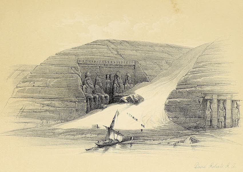 The Holy Land : Syria, Idumea, Arabia, Egypt & Nubia Vols. 5 & 6 - The Temples of Aboo-Simbel, from the Nile (1855)