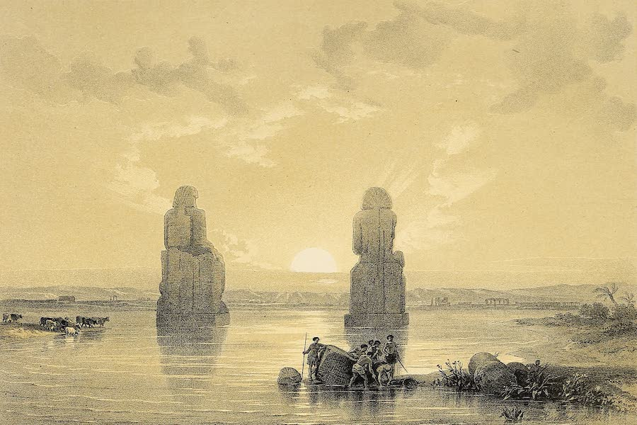 The Holy Land : Syria, Idumea, Arabia, Egypt & Nubia Vols. 5 & 6 - The Colossal Statues in the Plain of Thebes, seen during the Inundation of the Nile (1855)