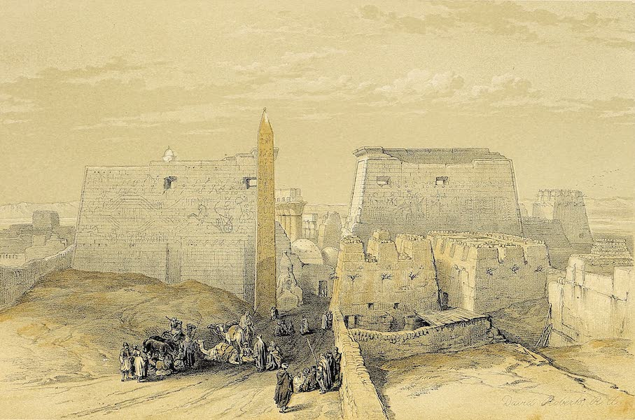 The Holy Land : Syria, Idumea, Arabia, Egypt & Nubia Vols. 5 & 6 - Grand Entrance to the Temple of Luxor (1855)