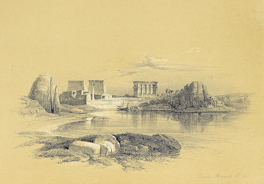 The Holy Land : Syria, Idumea, Arabia, Egypt & Nubia Vols. 5 & 6 - Island of Philae, looking down the Nile (1855)