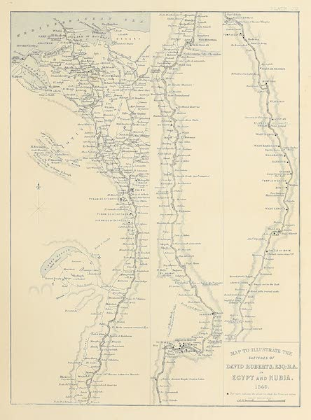 The Holy Land : Syria, Idumea, Arabia, Egypt & Nubia Vols. 5 & 6 - Map of the Valley of the Nile (1855)