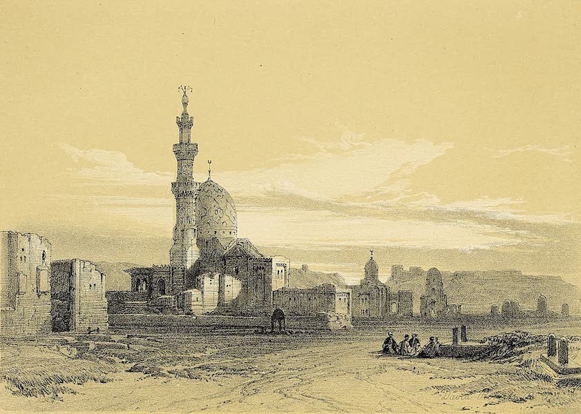The Holy Land : Syria, Idumea, Arabia, Egypt & Nubia Vols. 5 & 6 - Tombs of the Caliphs, Cairo. The Citadel in the Distance (1855)