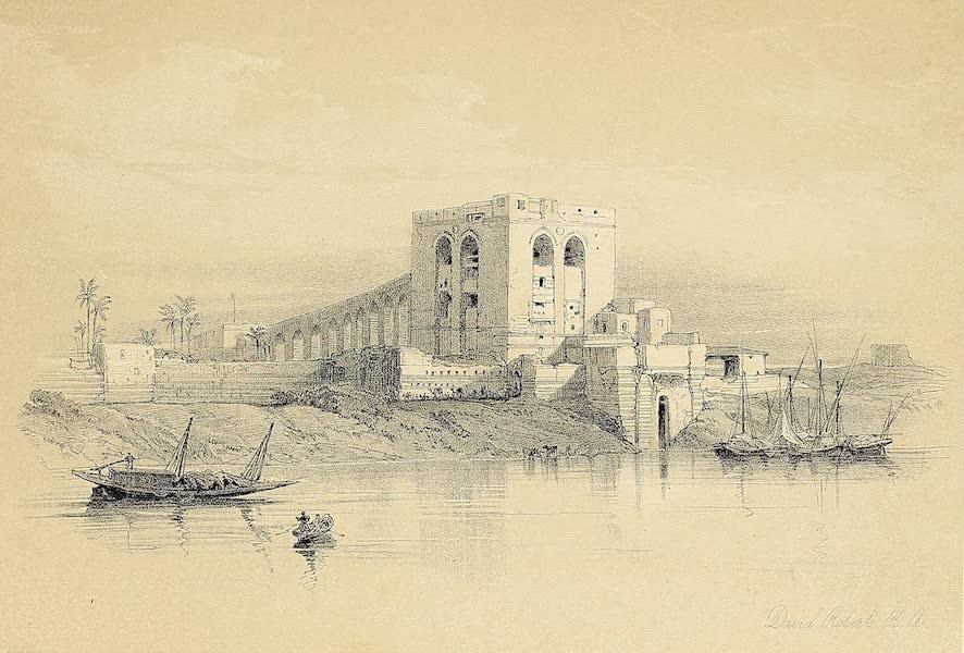 The Holy Land : Syria, Idumea, Arabia, Egypt & Nubia Vols. 5 & 6 - The Aqueduct of the Nile, from the Island of Rhoda, Cairo (1855)