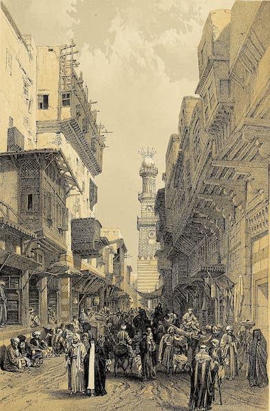 The Holy Land : Syria, Idumea, Arabia, Egypt & Nubia Vols. 5 & 6 - Bazaar in the Street leading to the Mosque El Mooristan, Cairo (1855)