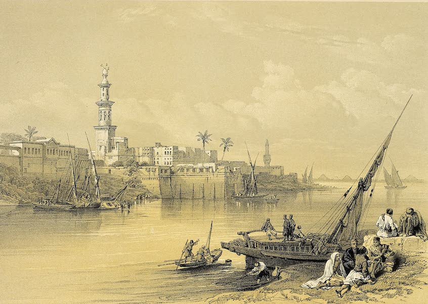 The Holy Land : Syria, Idumea, Arabia, Egypt & Nubia Vols. 5 & 6 - View on the Nile. Isle of Rhoda and the Ferry of Geezeh (1855)