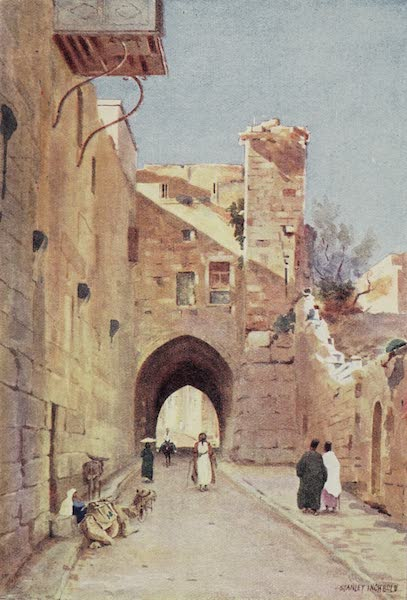 The Home of Fadeless Splendour or, Palestine of Today - Via Dolorosa with the Tower of Antonia (1921)
