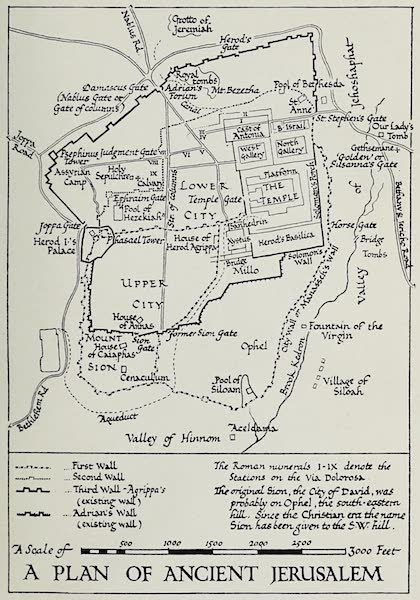 The Home of Fadeless Splendour or, Palestine of Today - A Plan of Ancient Jerusalem (1921)