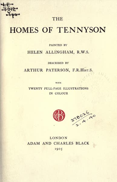 The Homes of Tennyson Painted and Described - Title Page (1905)