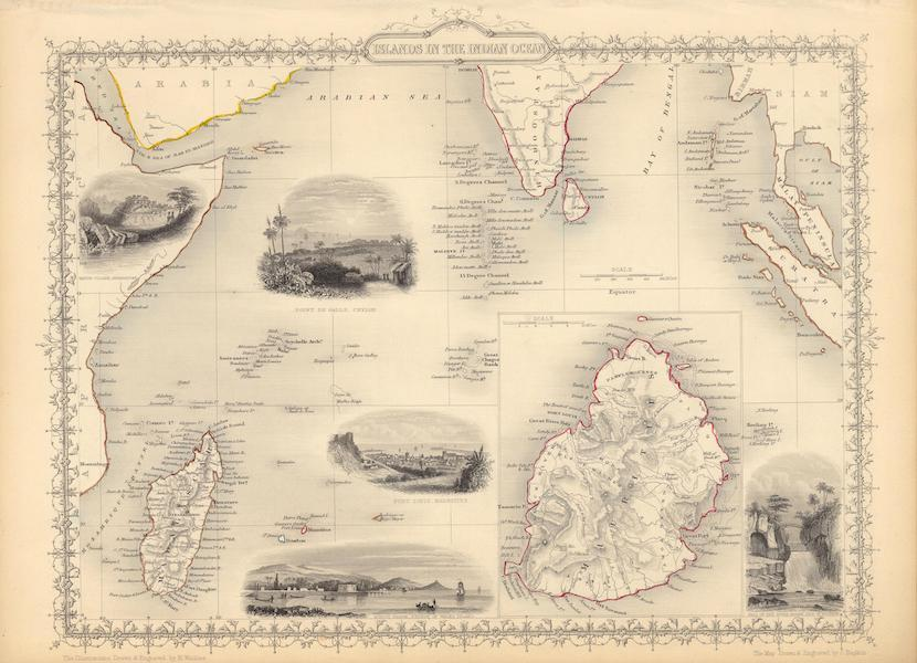 The Illustrated Atlas - Islands in the Indian Ocean (with) inset map of Mauritius (1851)