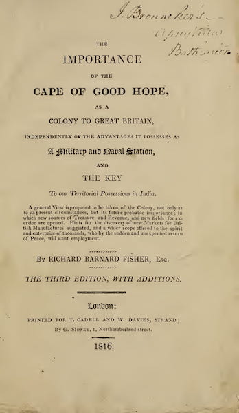 The Importance of the Cape of Good Hope  - Title Page (1816)