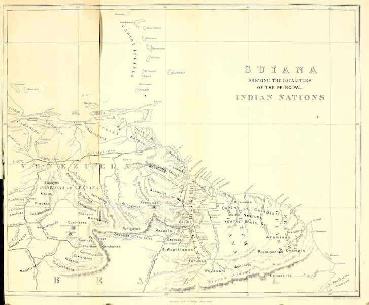 The Indian Tribes of Guiana - Map of Guiana (1868)