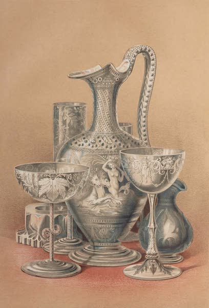 The Industrial Arts of the Nineteenth Century Vol. 1 - Group of Objects in Glass by Bacchus, Birmingham ; Green, and Apsley Pellatt, London (1851)