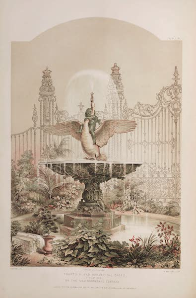 The Industrial Arts of the Nineteenth Century Vol. 1 - Fountain and Ornamental Gates by Coalbrookdale Company (1851)