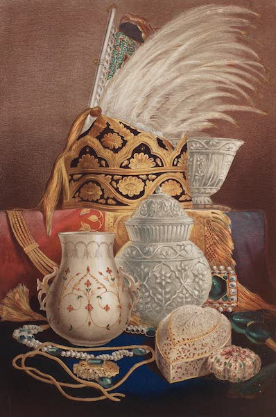 The Industrial Arts of the Nineteenth Century Vol. 1 - Group of Crystal Vases and Jewellery (1851)