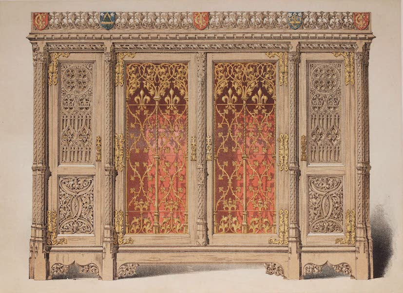 The Industrial Arts of the Nineteenth Century Vol. 2 - Cabinet in Oak, with brass panels by Crace, London. Designed by Pugin. (1851)