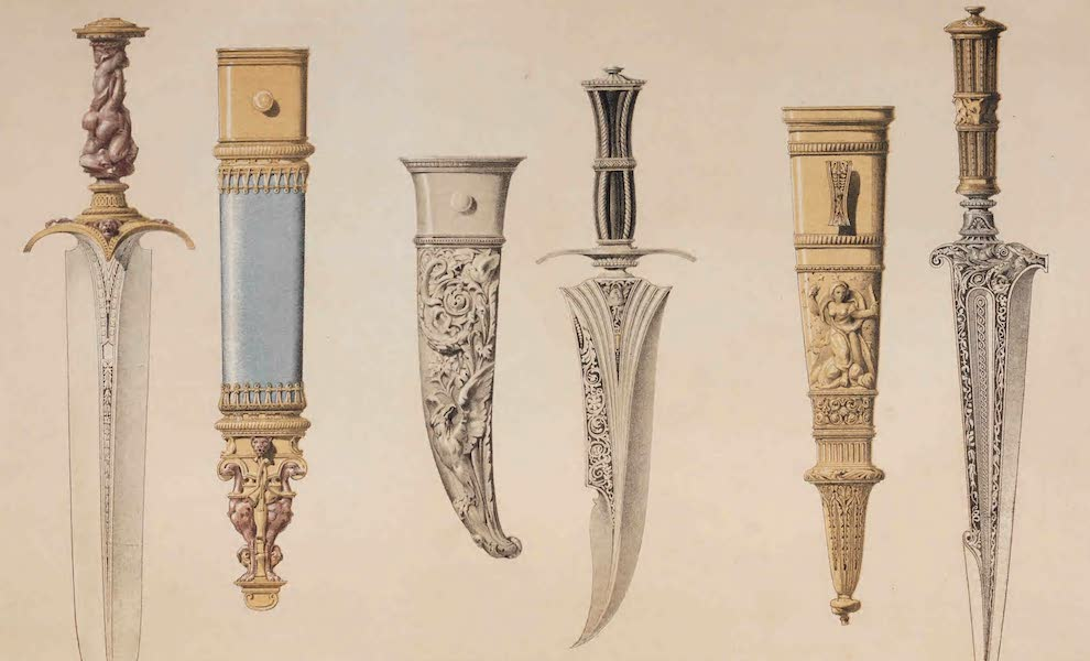 The Industrial Arts of the Nineteenth Century Vol. 2 - Daggers and Sheaths by Wostenholm & Son, Sheffield. Designed by A. Stevens. (1851)