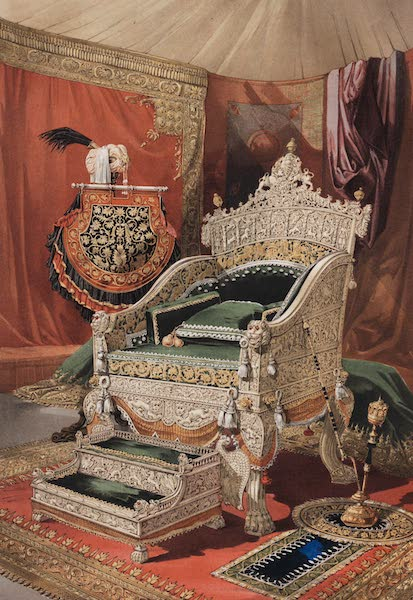The Industrial Arts of the Nineteenth Century Vol. 2 - Ivory Throne and Footstool, presented to her Majesty the Queen by his Highness the Rajah of Travancore (1851)