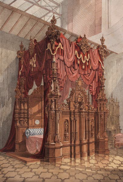 The Industrial Arts of the Nineteenth Century Vol. 2 - Bedstead in Zebra-wood by Leistler and Son, Vienna (1851)