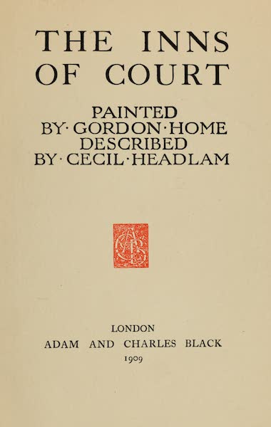 The Inns of Court Painted and Described - Title Page (1909)