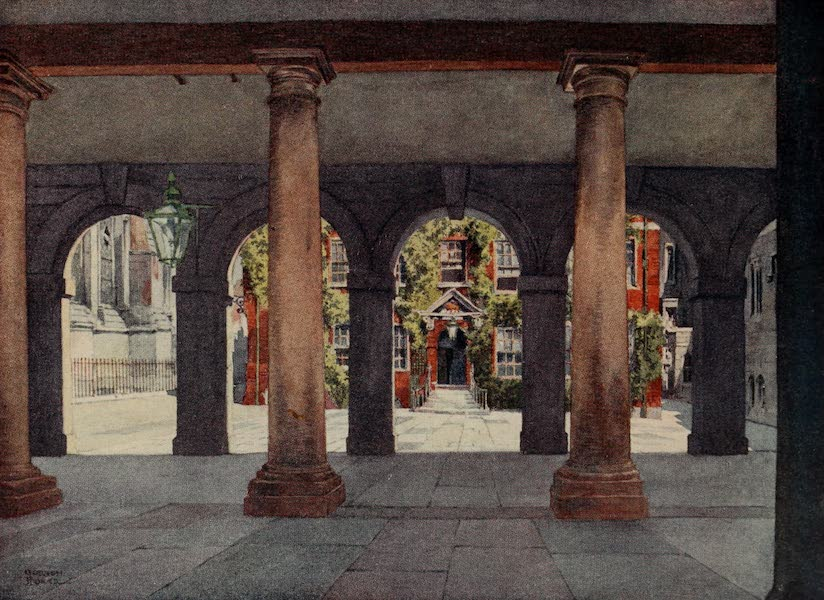 The Inns of Court Painted and Described - Lamb Building from Pump Court, Temple (1909)