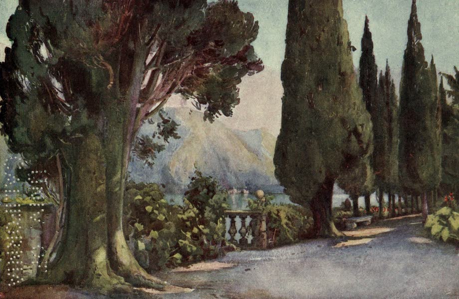 The Italian Lakes, Painted and Described - Cypress Avenue, Villa del Pizzo, Lago di Como (1912)